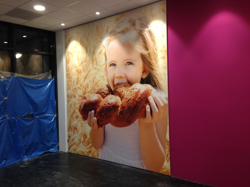 Aankleding winkel bakkerij Plaizier Hoogeveen foto wand