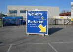 Hodij Coatings spandoek en spanraam op poot