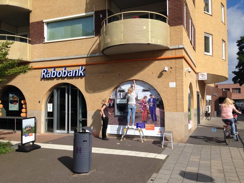 Gevelbelettering Sticker Rabobank Hoogeveen Reclame pinautomaat