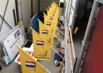 Schuine gevel vlaggen Kaaspakhuis