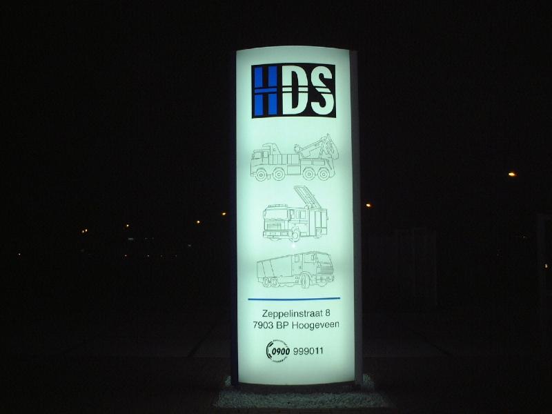 Verlichte reclame zuil HDS
